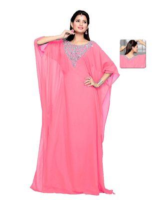Soft Pink Embroidered Faux Georgette Farasha