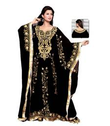 Black Embroidered Faux Georgette Farasha