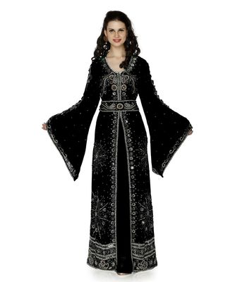 Black Embroidered Faux Georgette Islamic Kaftan
