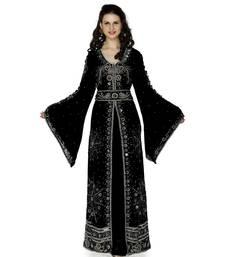 black embroidered faux georgette islamic kaftan