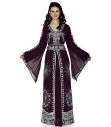Purple Embroidered Faux Georgette Islamic Kaftan