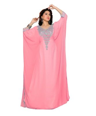 Soft Pink Embroidered Faux Georgette Farasha