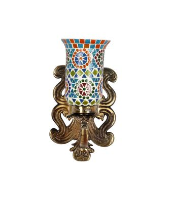 Multicolor Mosaic Glass Retro Light Wall Decor Lamp with Designer Brass Polish Finish Metal Fitting