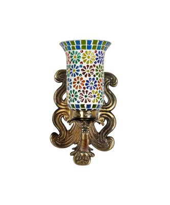 Wall Decor Green Mosaic Glass Designer Metal Brass Polish Finish Fitting Indoor Outdoor Home Wall Sconce