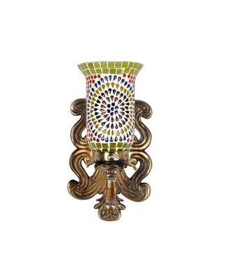 Indian Decorative Up Light White Mosaic Glass Metal Fitting Wall Sconces Lamp