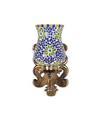 Indian Metal Designer Brass Polish Finish Fitting Multicolor Mosaic Glass Wall Up Light Lamp Sconces