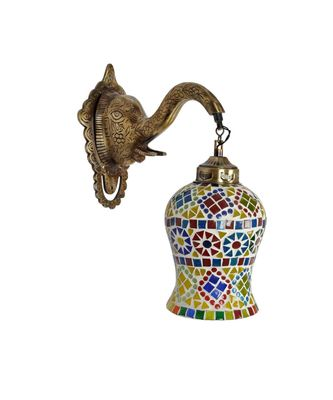 Indian Decorative Down Light Mosaic Glass Metal Elephant Fitting Wall Sconces Lamp