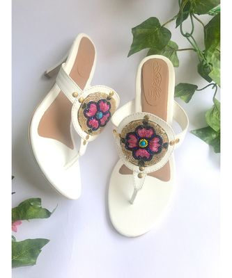 White Embroidered Pencil Heels