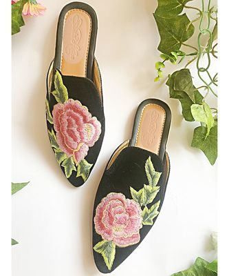 Black Velvet Hi-Collar Pink Rose Mules