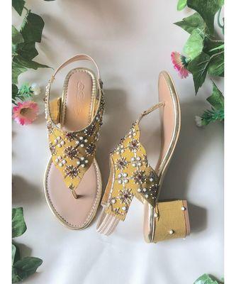 Mustard Nakshi Block Heels