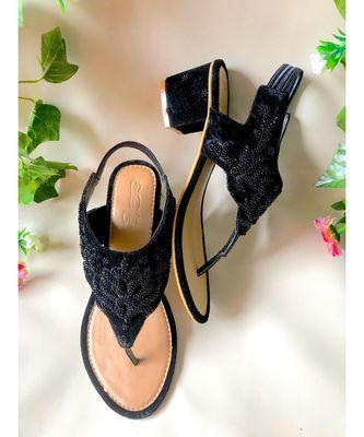 Black Micro Velvet Block Heels
