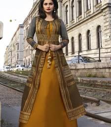 Mustard printed art silk ethnic kurtis