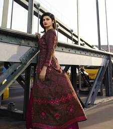 Dark-rani-pink printed art silk ethnic kurtis