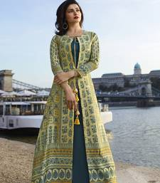 Light-lemon printed art silk ethnic kurtis