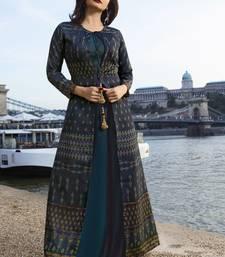 Dark-blue printed art silk ethnic kurtis