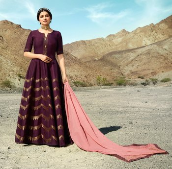 Wine embroidered silk blend salwar