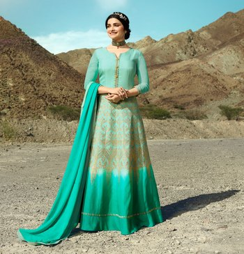 Turquoise embroidered silk blend salwar