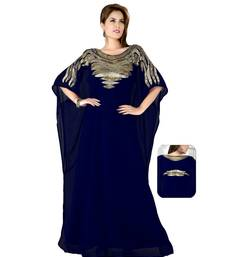 Navy Blue Embroidered Faux Georgette Farasha