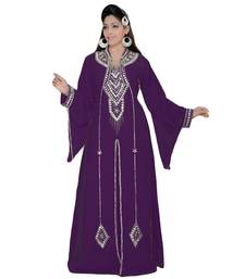 Purple Embroidered Faux Georgette Islamic Kaftan