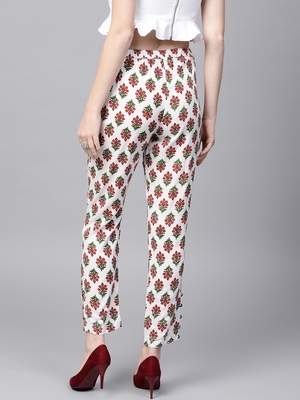 Off White Floral Pencil Pants