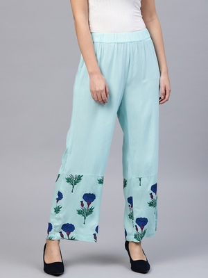 Blue Floral Palazzo Pants
