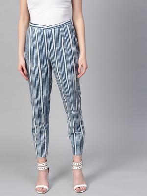 Indigo Stripe Pencil Pants