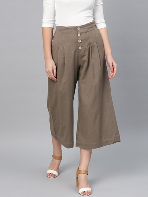 Brown Front Button Pants