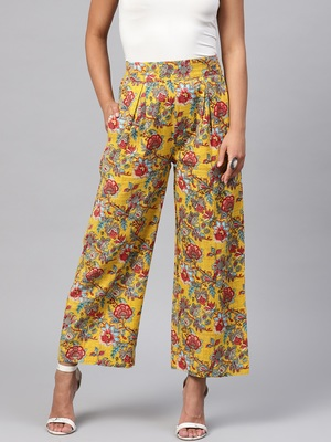 Yellow & Red Floral Pleated Palazzo Pants
