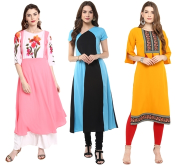 Multicolor printed crepe ethnic kurtis