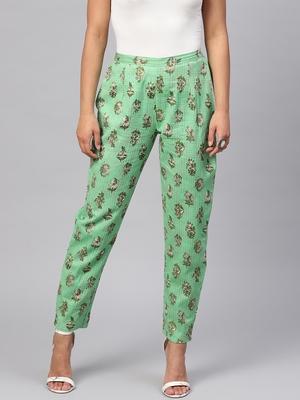 Green Mughal Floral Pencil Pants
