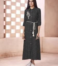 Black embroidered cotton ethnic kurtis