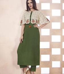 Olive embroidered cotton ethnic kurtis
