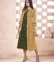 Dark green embroidered cotton ethnic kurtis