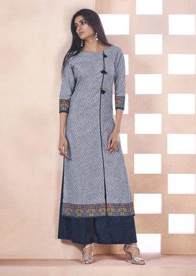 Grey embroidered cotton ethnic kurtis