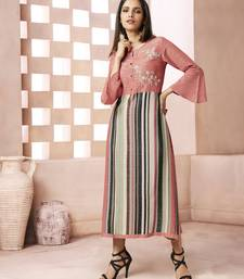 Peach embroidered cotton ethnic kurtis