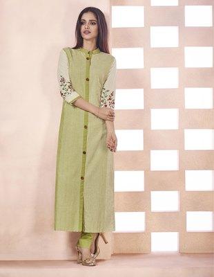 Green Embroidered Cotton Ethnic Kurtis