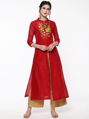Red Embroidered Front & Side Slit Kurta