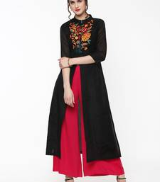 Black Embroidered Front & Side Slit Kurta