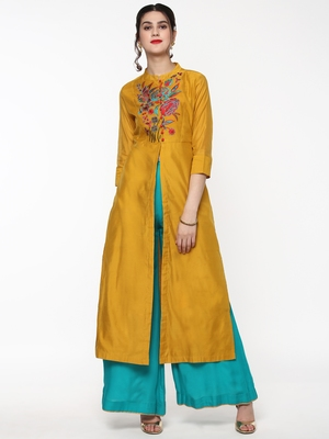 Mustard Embroidered Front & Side Slit Kurta