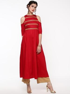 Red Cold Shoulder Anarkali with Gota Lace