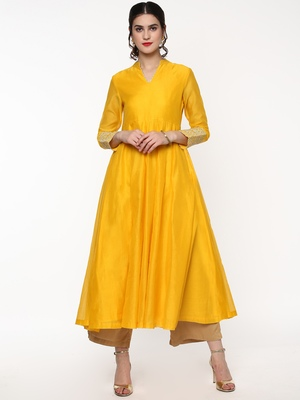 Yellow Anarkali Kurta with Gota Lace on Cuff