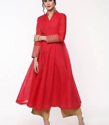 Pink Anarkali Kurta with Gota Lace on Cuff