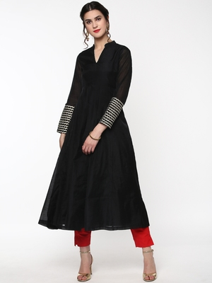 Black Anarkali Kurta with Gota Lace on Cuff