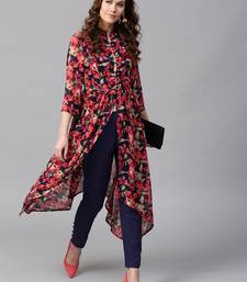 Navy Red floral_print Asymmetrical Kurta