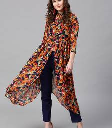 Navy Orange floral_print Asymmetrical Kurta