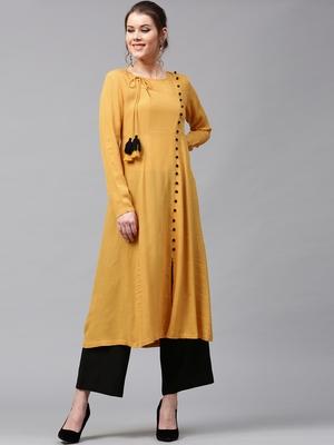 Mustard Angrakha Style Kurta