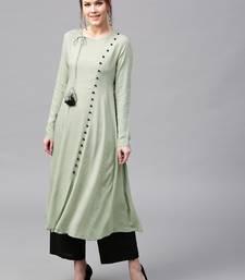 Olive Angrakha Style Kurta