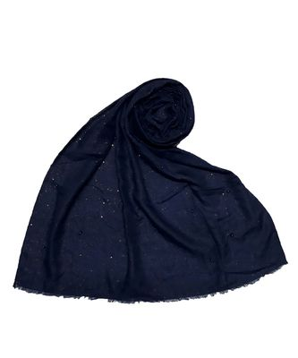 Blue Diamond Studed Designer Cotton Glitter Hijab Head Scarf