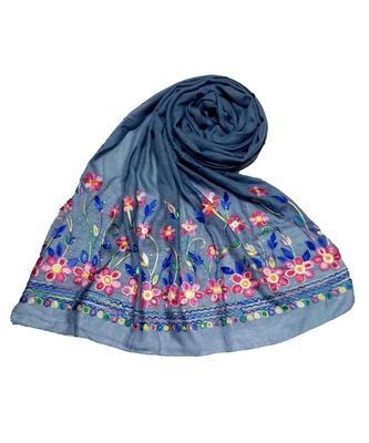 Blue Designer Emboidered Diamond Studed Hijab Head Scarf