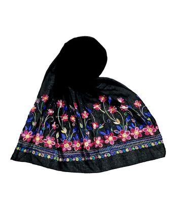 Black Designer Emboidered Diamond Studed Hijab Head Scarf